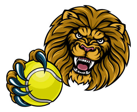 A lion angry animal sports mascot holding a tennis ball