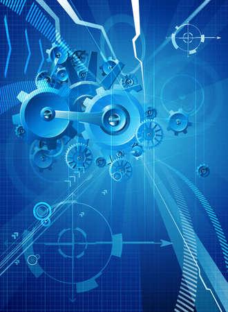 Toestellen en radertjes blauwe bedrijfs conceptuele abstracte achtergrond
