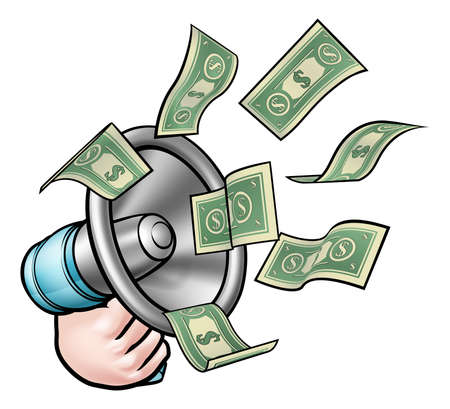 A megaphone or bullhorn with money flying out. Concept for marketing, referral bonus, or other activity where you are paid for speaking or communication