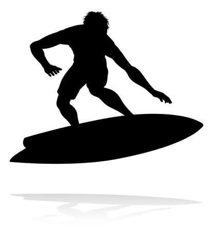 Surfer Silhouette Graphic