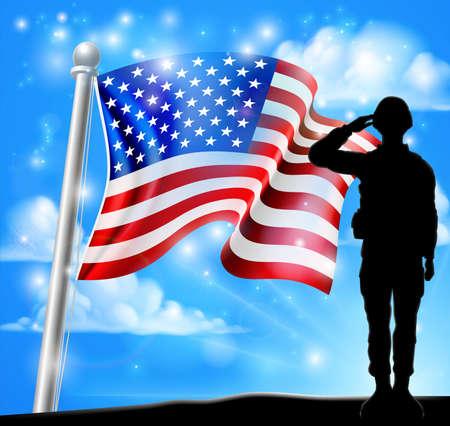 Fondo de bandera americana de saludo de soldado patriótico Ilustración de vector