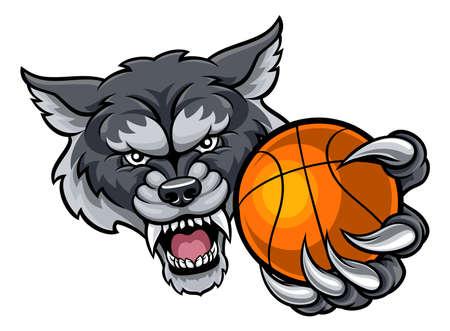 Wolf Holding Basketball Ball Mascot Illustration
