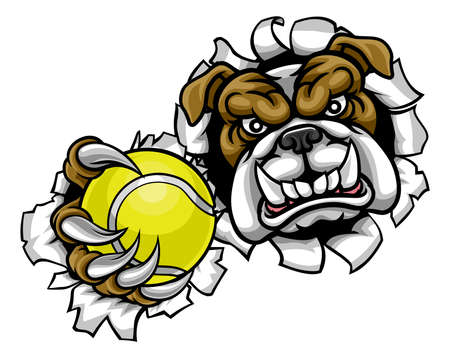 Bulldog Tennis Sports Mascot Illustration