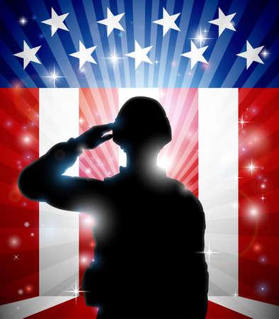 Soldier Saluting American Flag Background Illustration