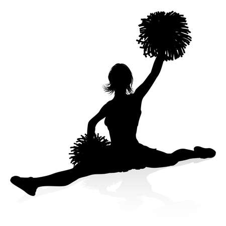 Silhouette Cheerleader Graphic Vector Illustration
