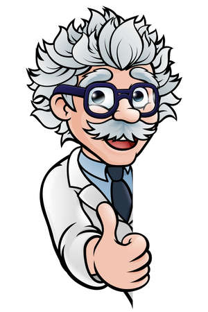 Scientist Cartoon Character Sign Thumbs Up