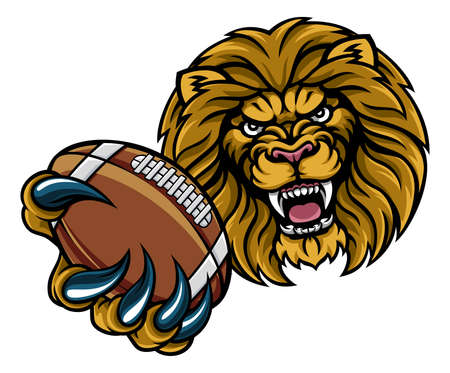 Lion American Football Ball Sports Mascot