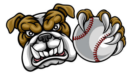 Bulldog Dog Holding Baseball Ball Sports Mascot 일러스트