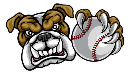 Perro Bulldog con mascota de deportes de pelota de béisbol Ilustración de vector