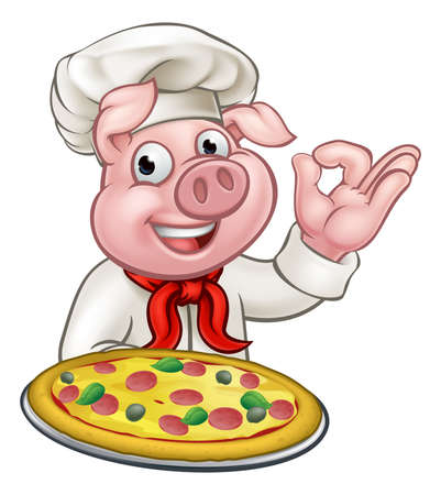 Pig Cartoon Pizza Chef Character