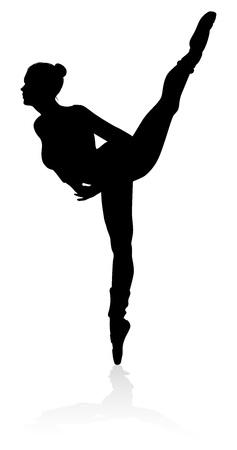 Ballet Dancer Dancing Silhouette Foto de archivo - 103632512