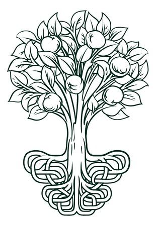 Apple Tree Roots Concept Illustration
