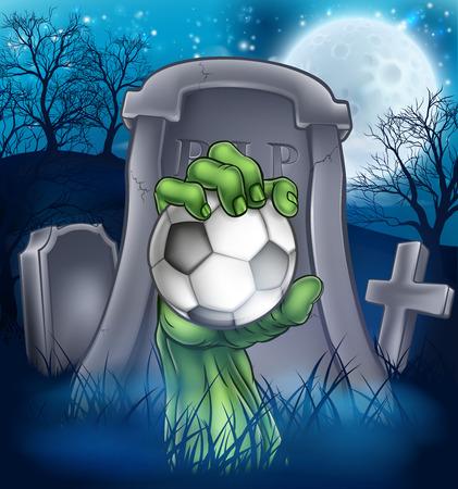 Soccer Zombie Halloween Graveyard Concept Stock Illustratie