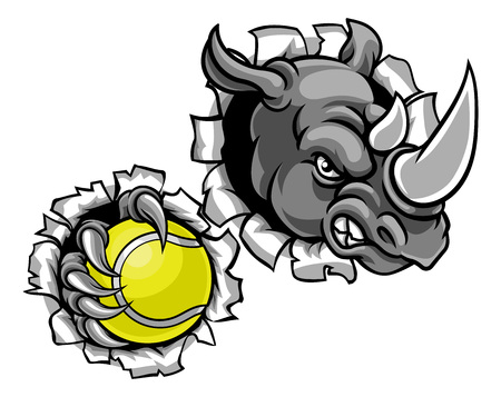 Rhino Holding Tennis Ball Breaking Background