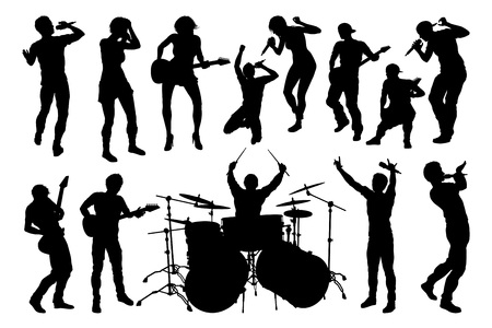A set of musicians, rock or pop band singers, drummers, and guitarists high quality silhouettes 矢量图像