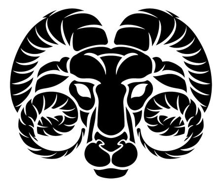 Zodiac Signs Circular Aries Ram Horoscope Astrology Symbol Royalty