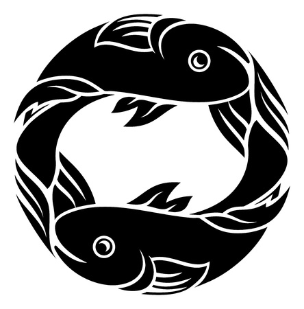 Astrology zodiac signs circular Pisces fish horoscope symbol