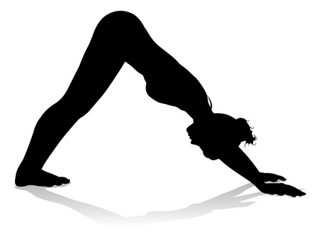 A silhouette of a woman in a yoga or pilates pose 矢量图像