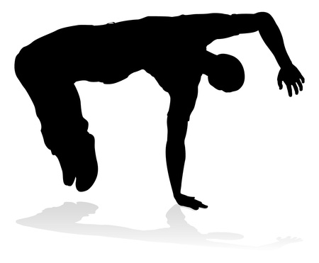 A male street dance hip hop dancer in silhouette Vettoriali