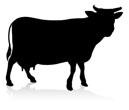 Cow Farm Animal Silhouette Vectores