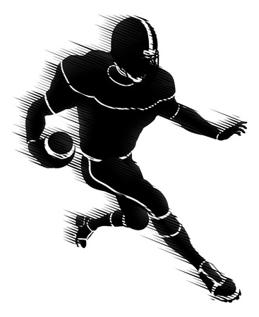 American Football Player Silhouette Concept Illustration