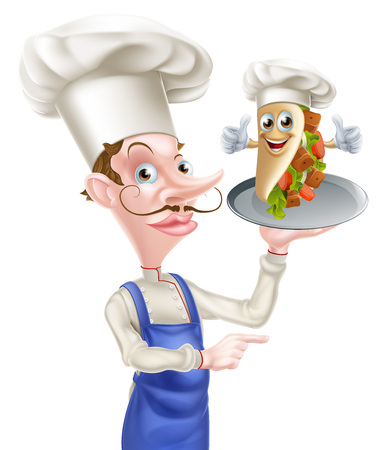 An Illustration of a Cartoon Chef and Kebab