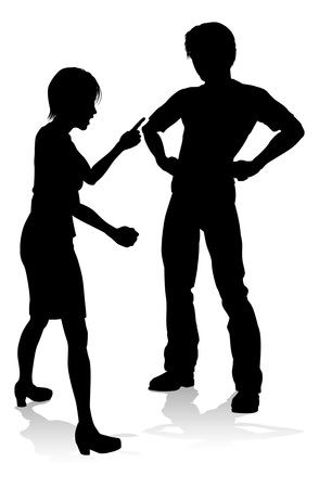 Man and Woman Couple Arguing Silhouette Stockfoto - 104023946