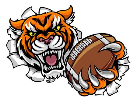Balón de fútbol americano tigre rompiendo fondo Ilustración de vector