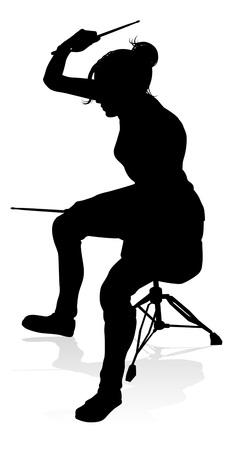 Músico, baterista, silueta Ilustración de vector