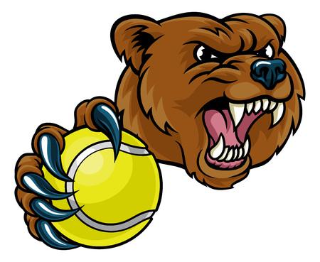 Bear Holding Tennis Ball Illustration