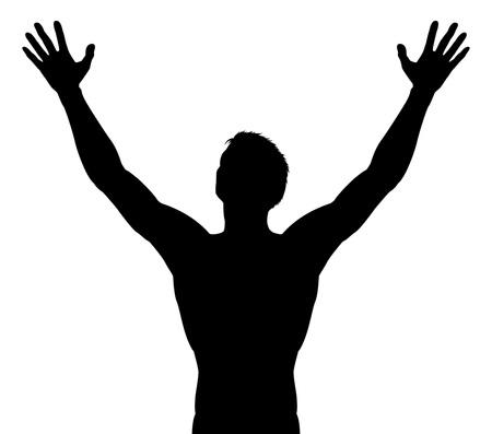 Hombre, brazos levantados, silueta