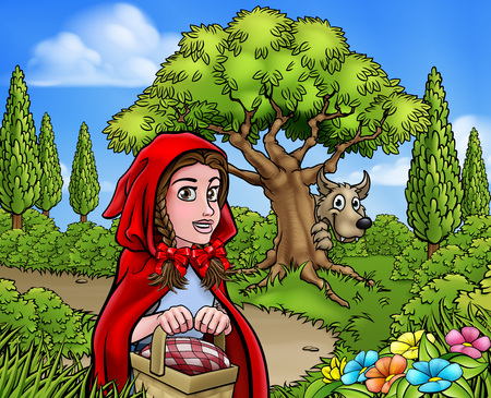 Fairytale childrens story scene of the big bad wolf cartoon character looking from behind a tree while little red riding hood is holding her basket and walking to gradmas house.