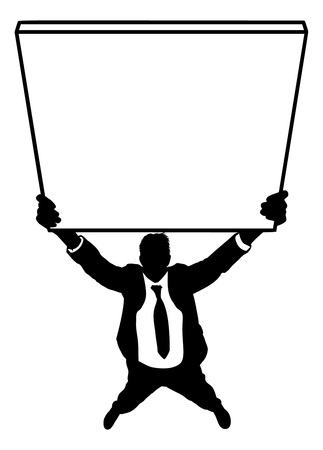 Silhouette of businessman holding empty sign isolated on a white background