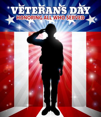 Saluting Soldier Veterans Day American Flag Vektorové ilustrace