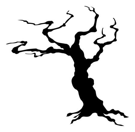 Spooky Halloween Tree Silhouette Vettoriali