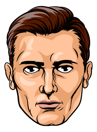 A handsome mans face in a cartoon pop art comic book style