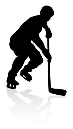 Silhouette Ice Hockey Player Vector Illustration