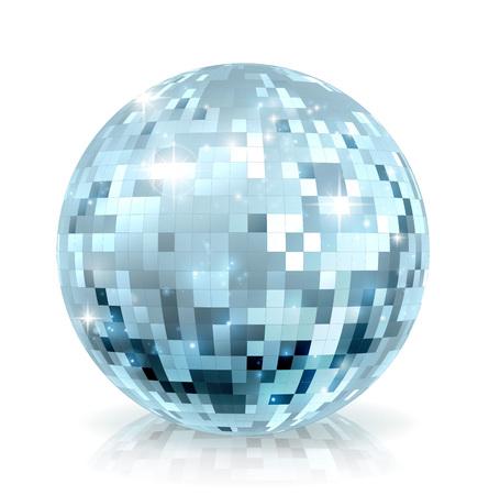 A disco mirror glitter ball decoration