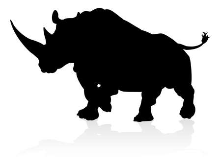 A rhino or rhinoceros safari animal silhouette Vettoriali