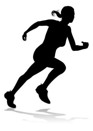 Silueta de pista y campo de carreras de corredor
