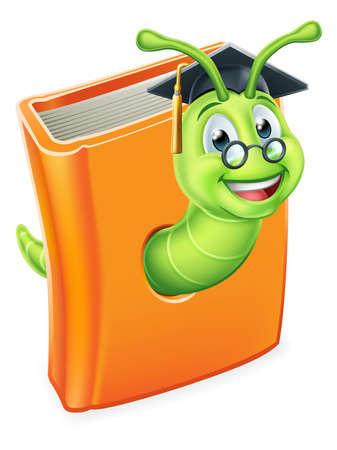 Graduate Worm Bookworm Caterpillar in Book