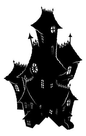 Halloween Haunted House Spooky Silhouette Illustration