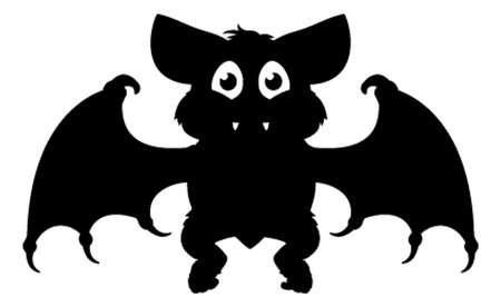 Halloween Cartoon Bat Silhouette Stock Illustratie