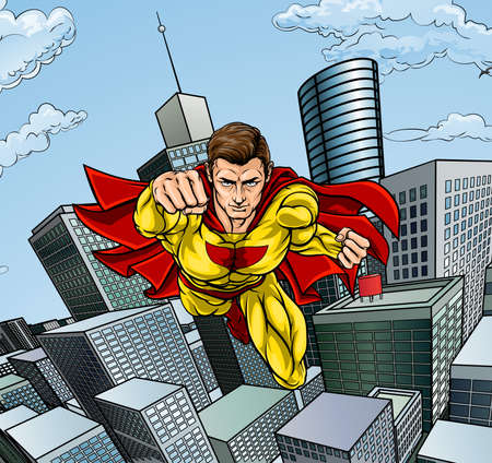 Caped Flying Super Hero City Scene