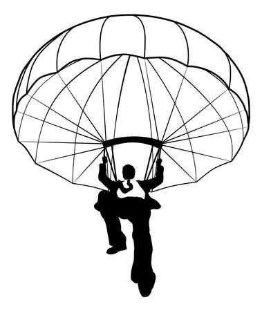 Parachute Businessman Silhouette Vector Illustration