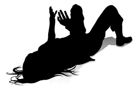 Silhouette young college student or teenager hanging out Ilustración de vector