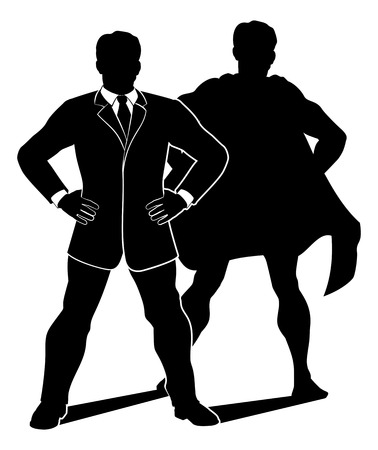 A businessman in silhouette with a caped super hero shadow