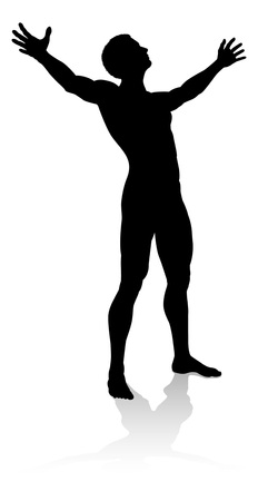 Man Arms Raised Person Silhouette
