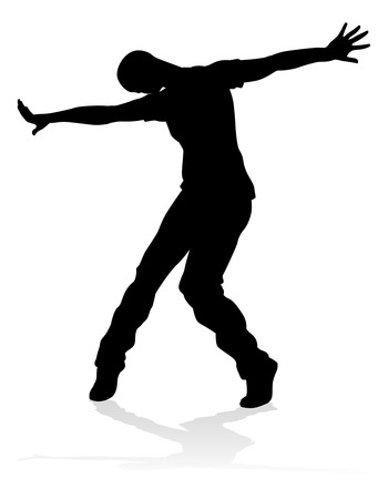A male street dance hip hop dancer in silhouette Çizim