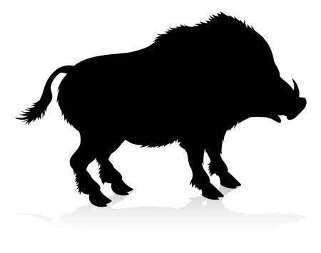 Jabalí, jabalí, animal, silueta